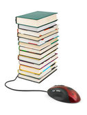 Computer mouse and books — Stock Photo