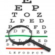 Magnifier on eyesight test chart — Stock Photo