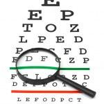 Magnifier on eyesight test chart — Stock Photo