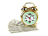 Alarm clock and money — Stock Photo