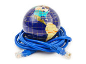 Globe and internet cable — Stock Photo
