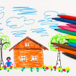 Child's drawing and pens - Stock Photo