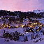 Mountains ski resort Solden Austria at sunset — Stock Photo #13639604