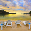 Tropical beach and sunset - Stock Photo