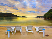 Tropical beach and sunset — Stock Photo