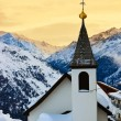 Church at mountains ski resort Solden Austria — Stock Photo
