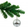 Christmas tree and mirror ball - 图库照片