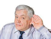Man in listening pose — Stock Photo