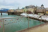Love locks in Salzburg Austria — Stock Photo