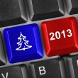 Computer keyboard with Christmas keys - Stock Photo