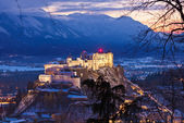 Salzburg and castle Hohensalzburg at sunset - Austria — Stock Photo