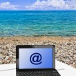 Notebook on beach — Foto Stock