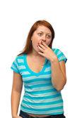 Mujer bosteza — Foto de Stock
