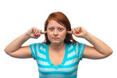Woman closed ears — Stock Photo