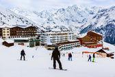 Dağlarda kayak merkezi sölden avusturya — Stok fotoğraf