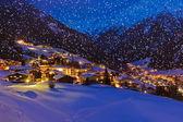 Berge-skigebiet solden österreich bei sonnenuntergang — Stockfoto