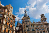 Street and houses at Madrid Spain — Stock Photo