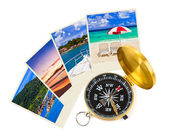 Summer beach shots and compass — Stock Photo
