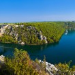 River Krka, bridge and town in Croatia — Stock Photo