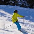 Skier at mountains ski resort Bad Gastein - Austria - Stock Photo
