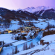 Mountains ski resort Solden Austria - sunset - Stock Photo
