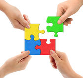 Mãos e equipe de quebra-cabeça — Foto Stock