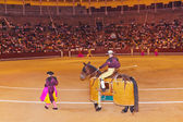 Matadors in bullfighting arena at Madrid — Stock Photo