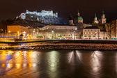 Salzburg Austria at night — Stock Photo