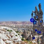 Tree and evil eye amulet in Cappadocia Turkey — Stock Photo