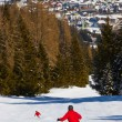Skiers at mountains ski resort Bad Hofgastein Austria - Stock Photo