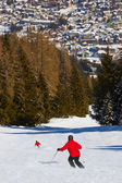 Skiers at mountains ski resort Bad Hofgastein Austria — Stock Photo