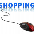 Computer mouse and word Shopping - Stockfoto