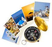 Santorini fotografie en kompas — Stockfoto