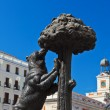 Statue of Bear and strawberry tree - symbol of Madrid - Stock Photo
