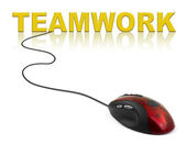 Computer mouse and word Teamwork — Stock Photo