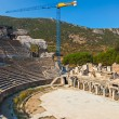 Ancient amphitheater and construction crane in Ephesus — Stock Photo