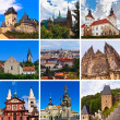 Collage of Praha Czech images — Stock Photo