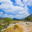 Pathway to mountains in Mycenae, Greece — Stock Photo
