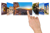 Hand scrolling Turkey travel images — Stock Photo