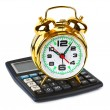 Stock Photo: Calculator and clock