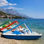 Multicolored catamaran on beach at Croatia — Stock Photo