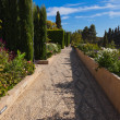 Stock Photo: Park in Alhambra palace at Granada Spain