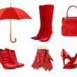 Постер, плакат: Set of red clothing and accessories