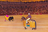 Matador and bull in bullfighting at Madrid — Stock Photo