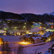 mountains ski resort solden austria at sunset — Stock Photo