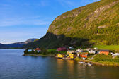 Town Sogndal and fjord - Norway — Stock Photo