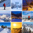 Collage of mountains ski images — Foto Stock