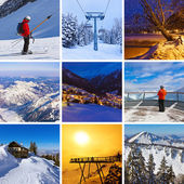 Collage of mountains ski images — Stock Photo