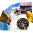 Mountains ski Austria images and compass — Foto Stock