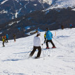 Skiers at mountains ski resort Bad Gastein Austria — Stock Photo #31433697